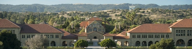Panoramic view of the main quad at Stanford