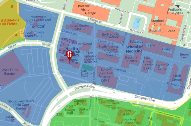Screen capture of a section of the searchable campus map