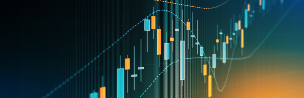 Banner with colorful graphic of digital data