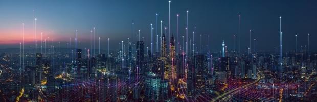 Panoramic view of an urban skyline